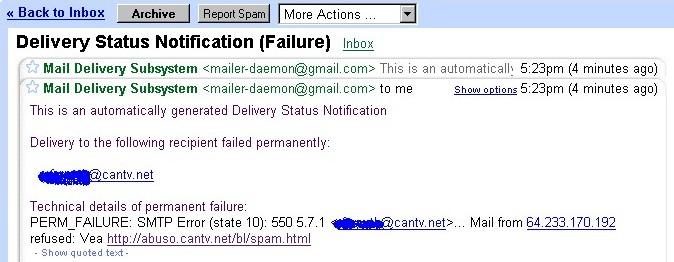 Screenshot de el mensaje del servidor de correo de cantv.net